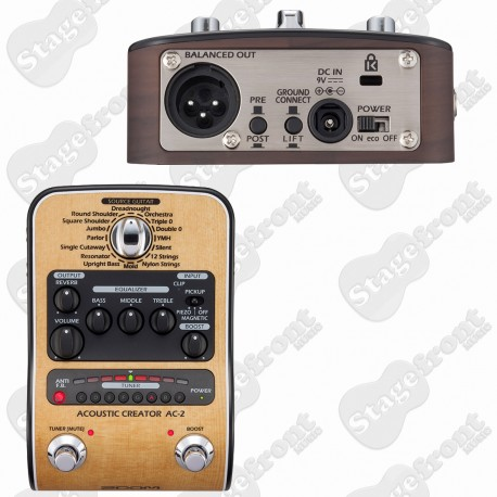 ZOOM AC-2 ACOUSTIC CREATOR PREAMP DI AND EFFECTS PEDAL