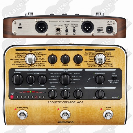 ZOOM AC-3 ACOUSTIC CREATOR PREAMP DI AND EFFECTS PEDAL
