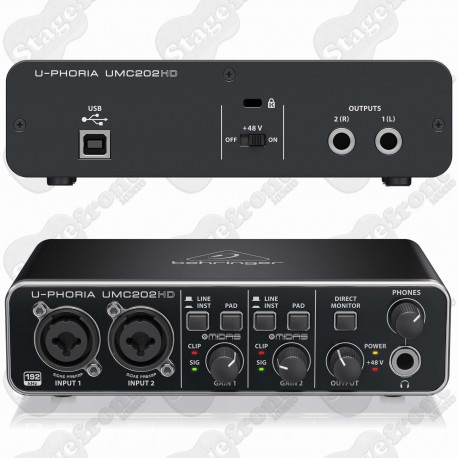 BEHRINGER U-PHORIA UMC202HD AUDIO INTERFACE FOR RECORDING MICROPHONES AND INSTRUMENTS