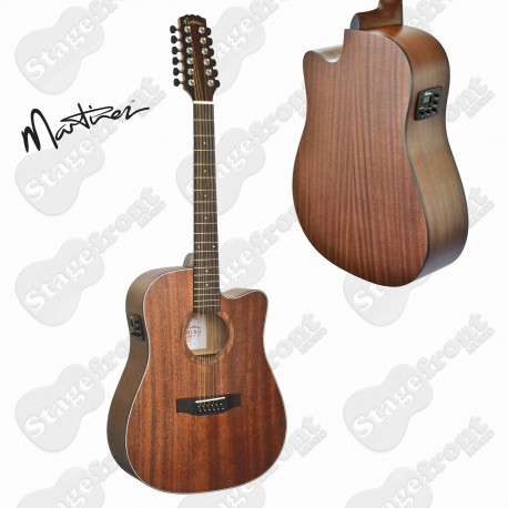 MARTINEZ 12 STRING SOLID MAHOGANY TOP OPEN PORE ACOUSTIC-ELECTRIC CUTAWAY GUITAR