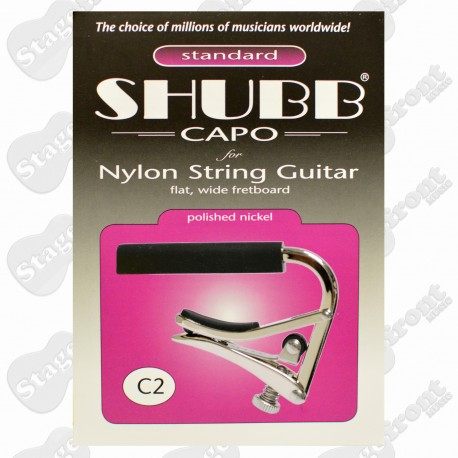 C2 GENUINE SHUBB NICKEL CAPO - Suits Nylon String Classical Guitars