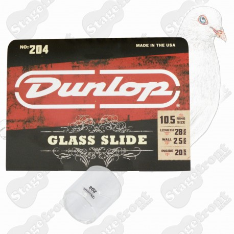 JIM DUNLOP J204 PYREX GLASS GUITAR SLIDE. MEDIUM WALL. 28mm SHORT KNUCKLE