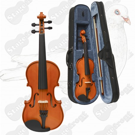 VALENCIA VIOLIN SV110 1/8 SIZE VIOLIN OUTFIT. SOLID CARVED TOP WITH CASE
