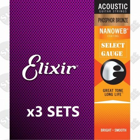 3 SETS OF ELIXIR ACOUSTIC NANOWEB PHOSPHOR BRONZE GUITAR STRINGS - SELECT GAUGE