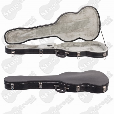 HARD CASE LES PAUL SHAPED. ARCHED TOP. ABS MOULDED. ALUMINIUM VALANCE. V-CASE