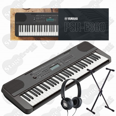 YAMAHA PSRE360 61-KEY TOUCH SENSITIVE KEYBOARD with HEADPHONES and STAND
