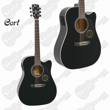 CORT MR710F BLACK SOLID TOP ACOUSTIC/ELECTRIC GUITAR