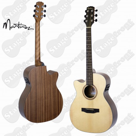 MARTINEZ LEFT HANDED SMALLER BODY STEEL STRING ACOUSTIC WITH PICKUP – MFC-15L-OP