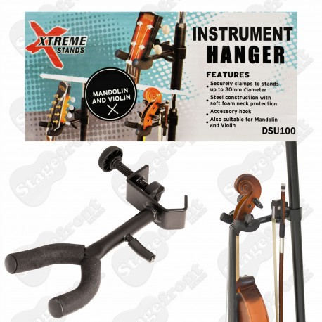UKULELE HANGER. ATTACHES TO MUSIC STAND UPRIGHT