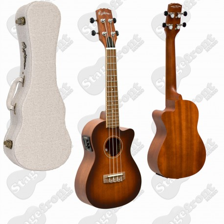 MARTINEZ TENOR UKULELE SOLID MAHOGANY TOP ACOUSTIC ELECTRIC WITH HARD CASE MSBT-6C-NST