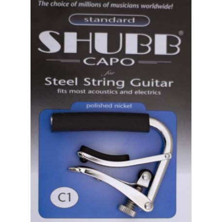 SHUBB C1 ORIGINAL NICKEL FINISH CAPO FOR STEEL STRING ACOUSTIC GUITARS